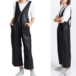 Free People Fiona vegan leather overalls nwt